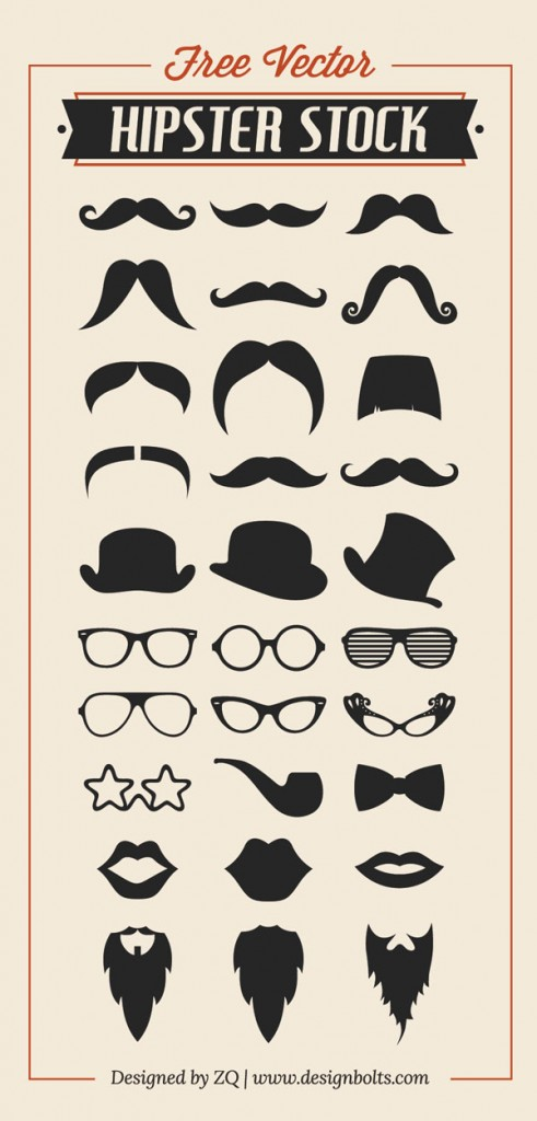 Free-Vector-Hipster-Stock-Mustache-Beard-Charlie-Hat-RayBan-Glasses