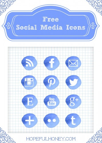 Free Blue Watercolour Social Media Icons