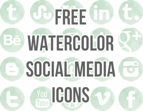 Free Watercolor Social Media Icon Set