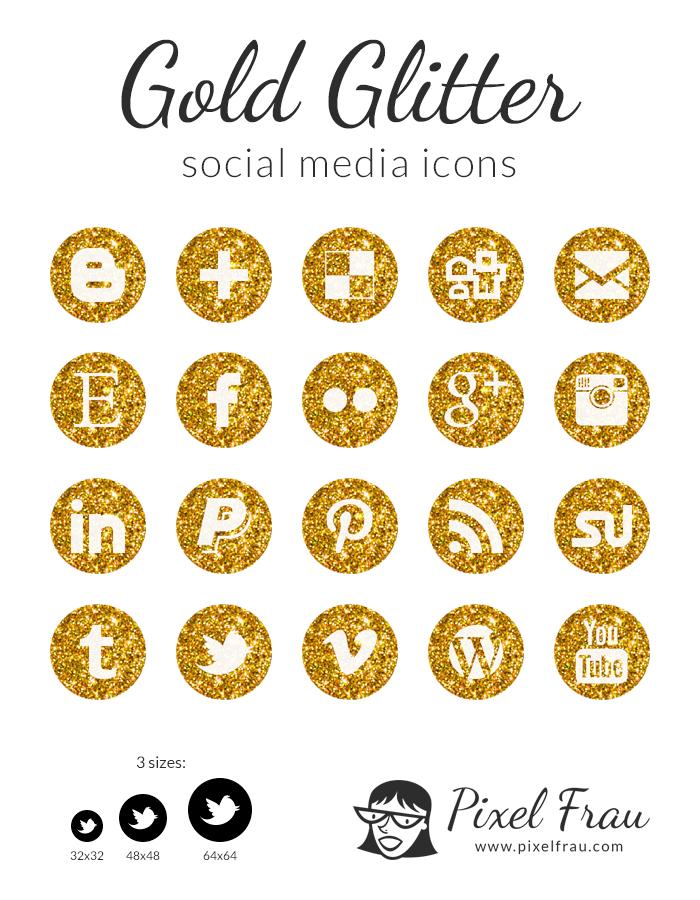 glitter-gold-social-media-icons