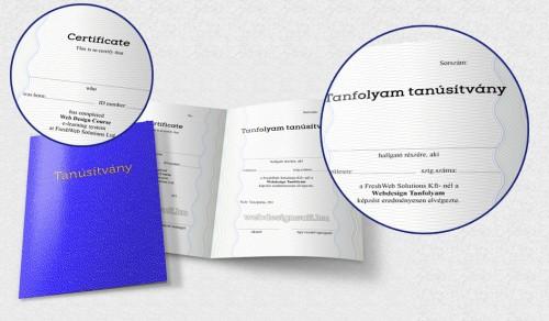 Ilyen két nyelvű (magyar és angol) tanúsítványt kapsz a Profi Otthoni Webdesign Tanfolyam elvégzése után. Katt a képre és nézd meg nagyobb méretben is!