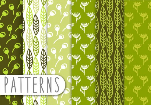 decorative-green-leaf-pattern-set-vector