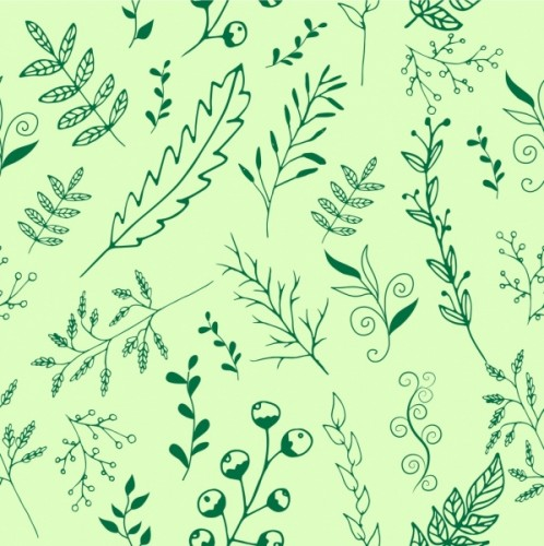 nature_background_leaves_grass_icons_repeating_style_sketch_6829355